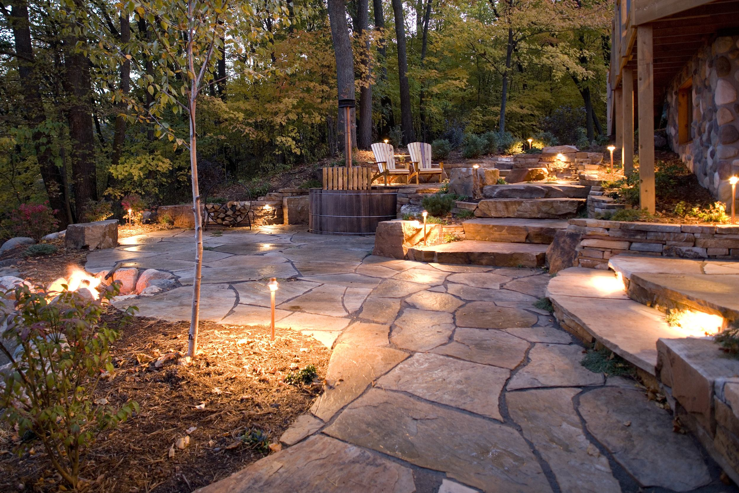 night lighting on flagstone patio