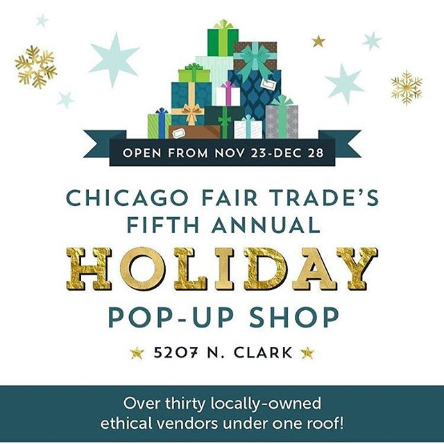 It's the most wonderful pop-up of the year! From Nov 23 - Dec 29 swing by the @chifairtrade holiday shop in Andersonville! If you're looking for holiday gifts, this is a wonderful way to support local small businesses with fair trade values 💚