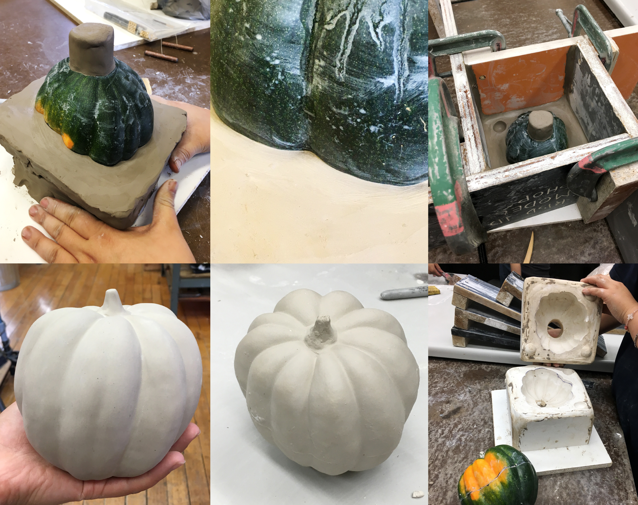 Clockwise from top left: Building up the clay base and pour gate for the first half of the mold pour, creating a clean edge between the clay body and the vegetable, setup for the first mold pour, two mold halves completed, first slipcast squash with seamline, cast squash ready for bisque fire