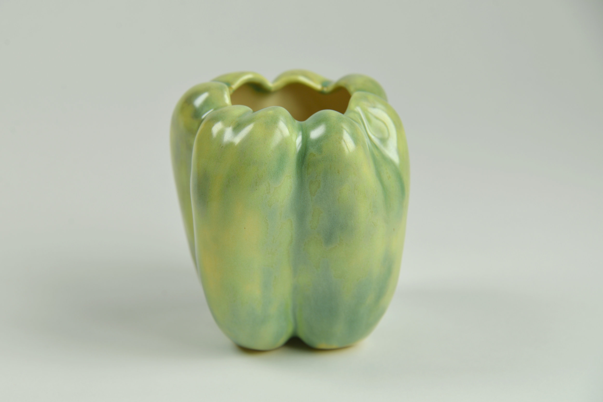 Above: Pepper mold made by Kate Blacklock, piece cast, shaped, fired, and glazed by Megan Lee