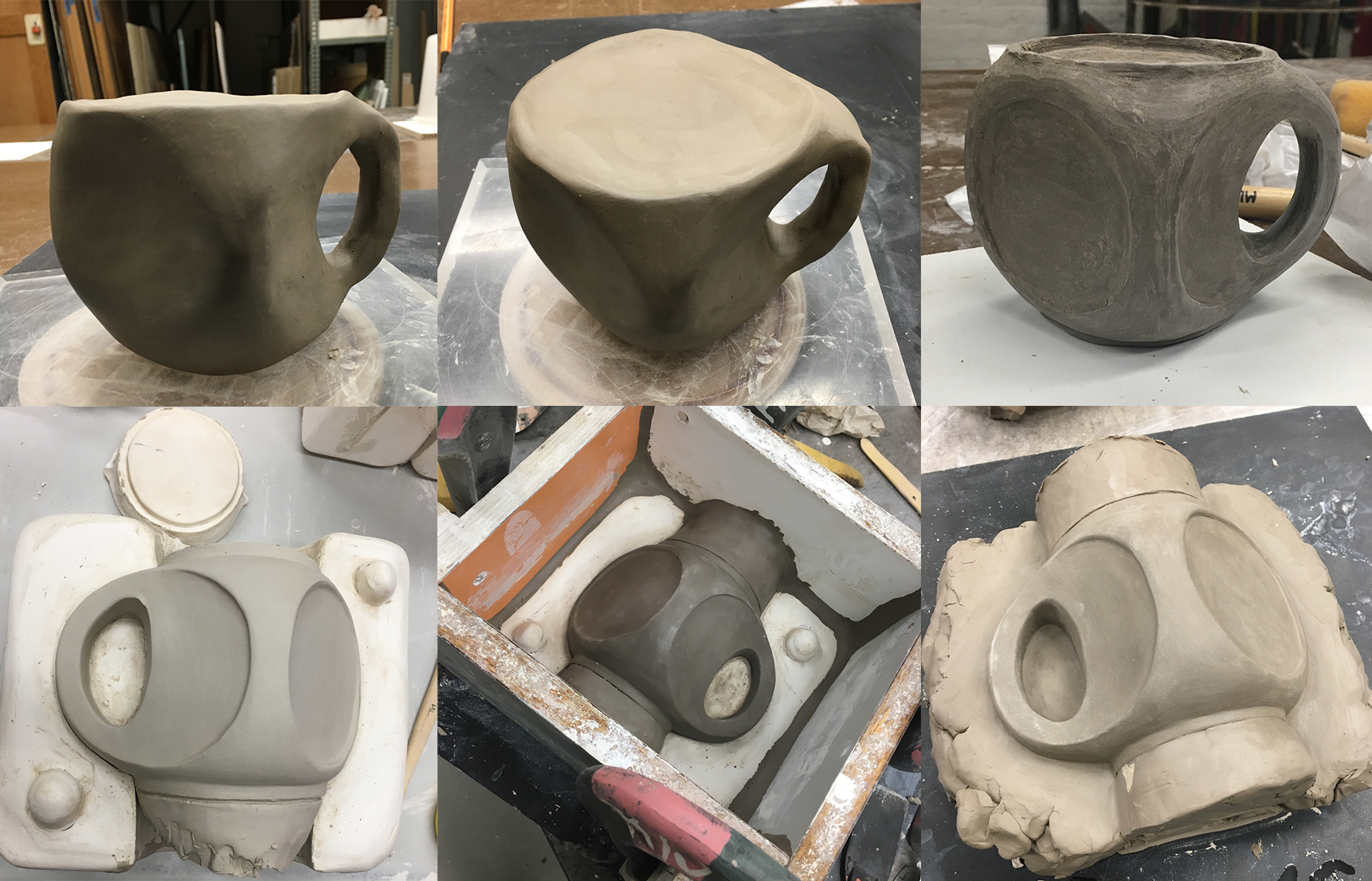 Clockwise from top left: Initial sketch model of cup concept, initial sketch model of cup, to-scale model of cup, preparing the scaled model for pouring the first half of the mold, setup for the second half mold pour, taking out the first slipcast cup from the mold