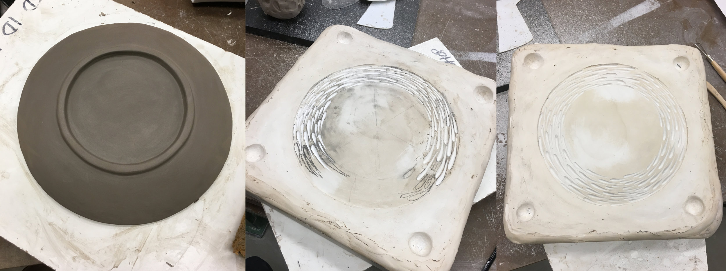From left to right: Bottom of the plate model showcasing the foot, carving the positive texture into the mold, the finished texture carving.