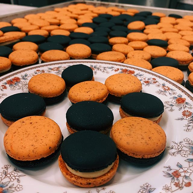 Trick or Treat Come and get free bite size pumpkin macaron for Halloween.  LIMITED QUANTITY  Pumpkin 🎃 ganache 👻 Macaron for Halloween  #halloween2019  French bakery with Stumptown Coffee Baguette🥖 Croissant 🥐 brioche, Danish pastry, Tarts, Canele... And ☕️ La tabatiere bakery 303 Herbert ave Closter NJ 07647  #bakery #coffee #stumptowncoffee #latte #cappuccino #croissant #danish #baguette #brioche #scone #canele #opera #cake #baguette #sourdough #glutenfreeCake  #cagefreeEgg #closter #nj @la_tabatiere