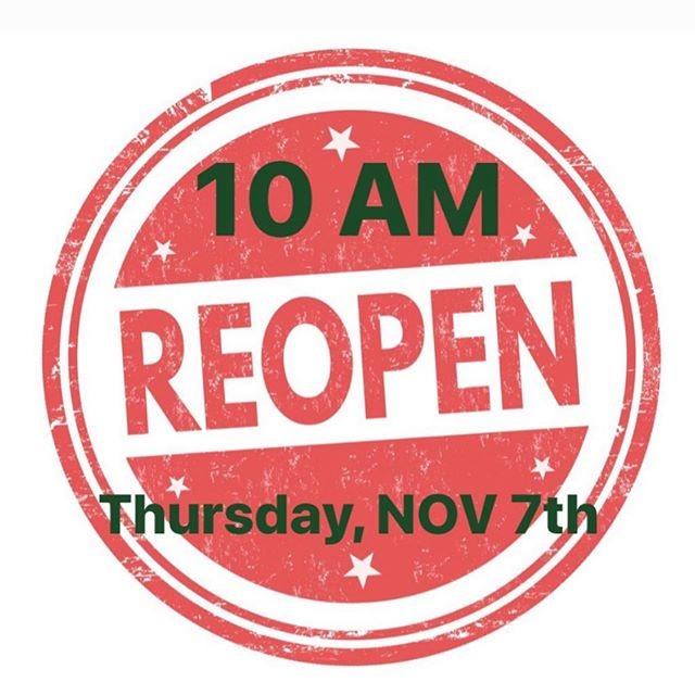 REOPEN 10AM  THURSDAY, Nov 7th  We will see you soon with better coffee options.