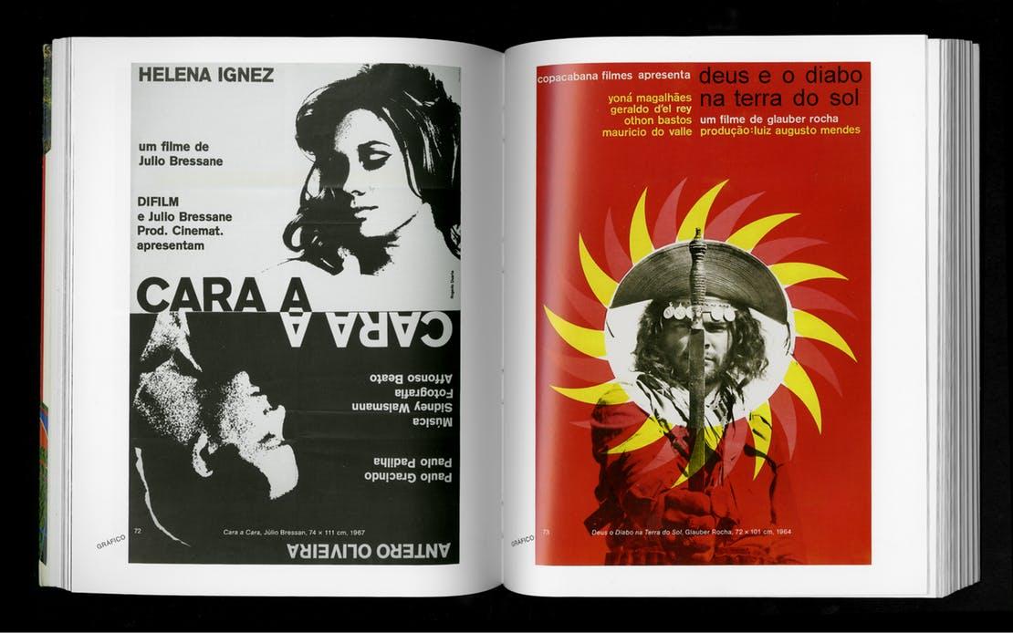 Spread from Rogério Duarte, Marginália 1. Left: Júlio Bressan, Cara a Cara, 1967 Right: Glauber Rocha, Deus o Diabo na Terra do Sol, 1964