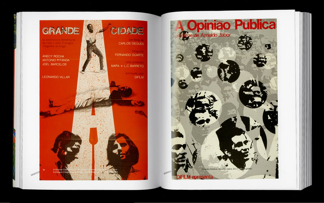 Spread from Rogério Duarte, Marginália 1. Left: Carlos Dieguas 3 Amigos Chegados de Longe, 1966 Right: Arnaldo Jabor, Opiniao Publica, 1966