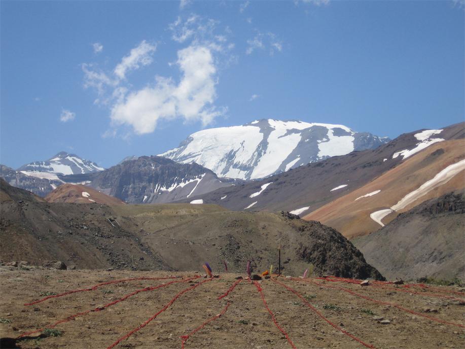 Cecilia Vicuña, Quipu Menstrual, 2006. El Plomo Glacier, Chile. Image credit: the artist.