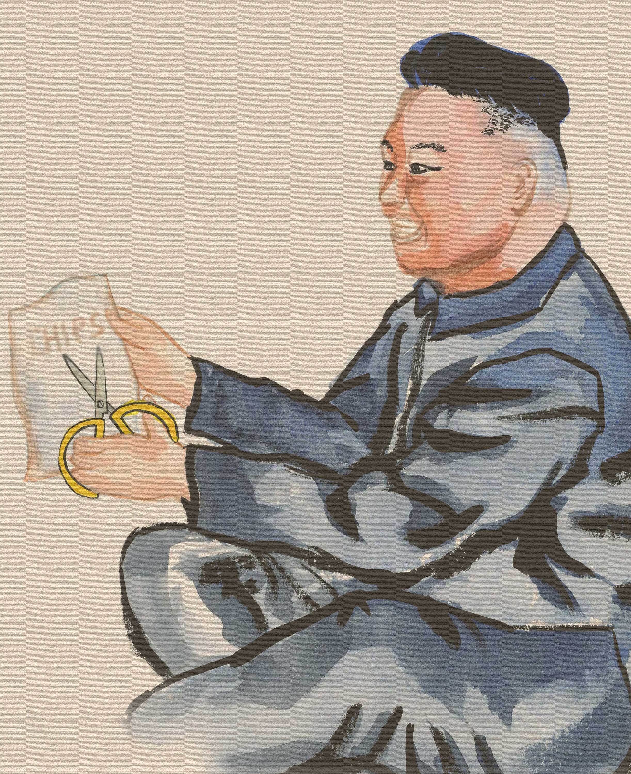 Kim Jong Un, opening a bag of chips in the civilized way