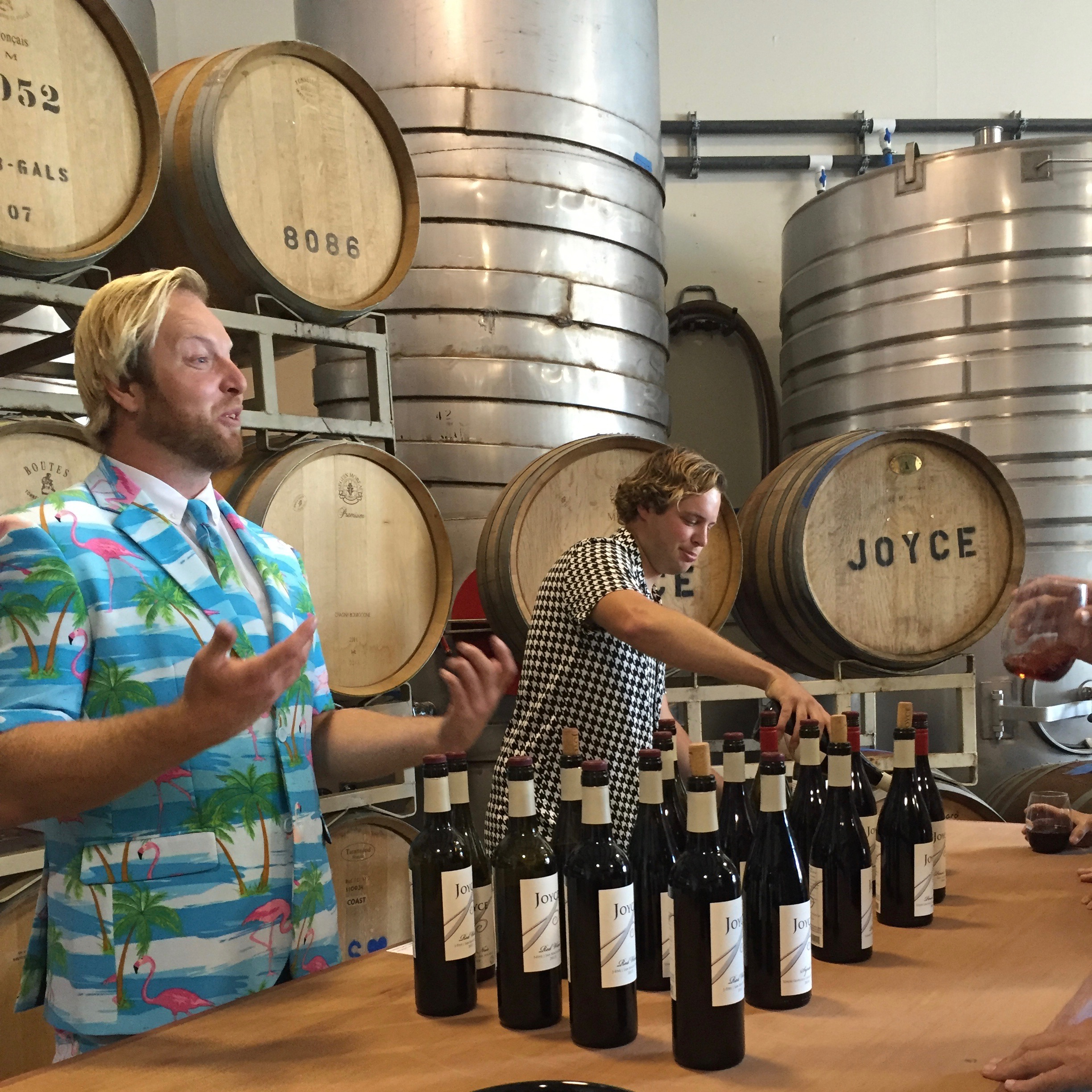 Brothers Todd (left) and Nick (Right [Ivy's wonderful boyfriend]) pouring a selection of red wines offered at Joyce.