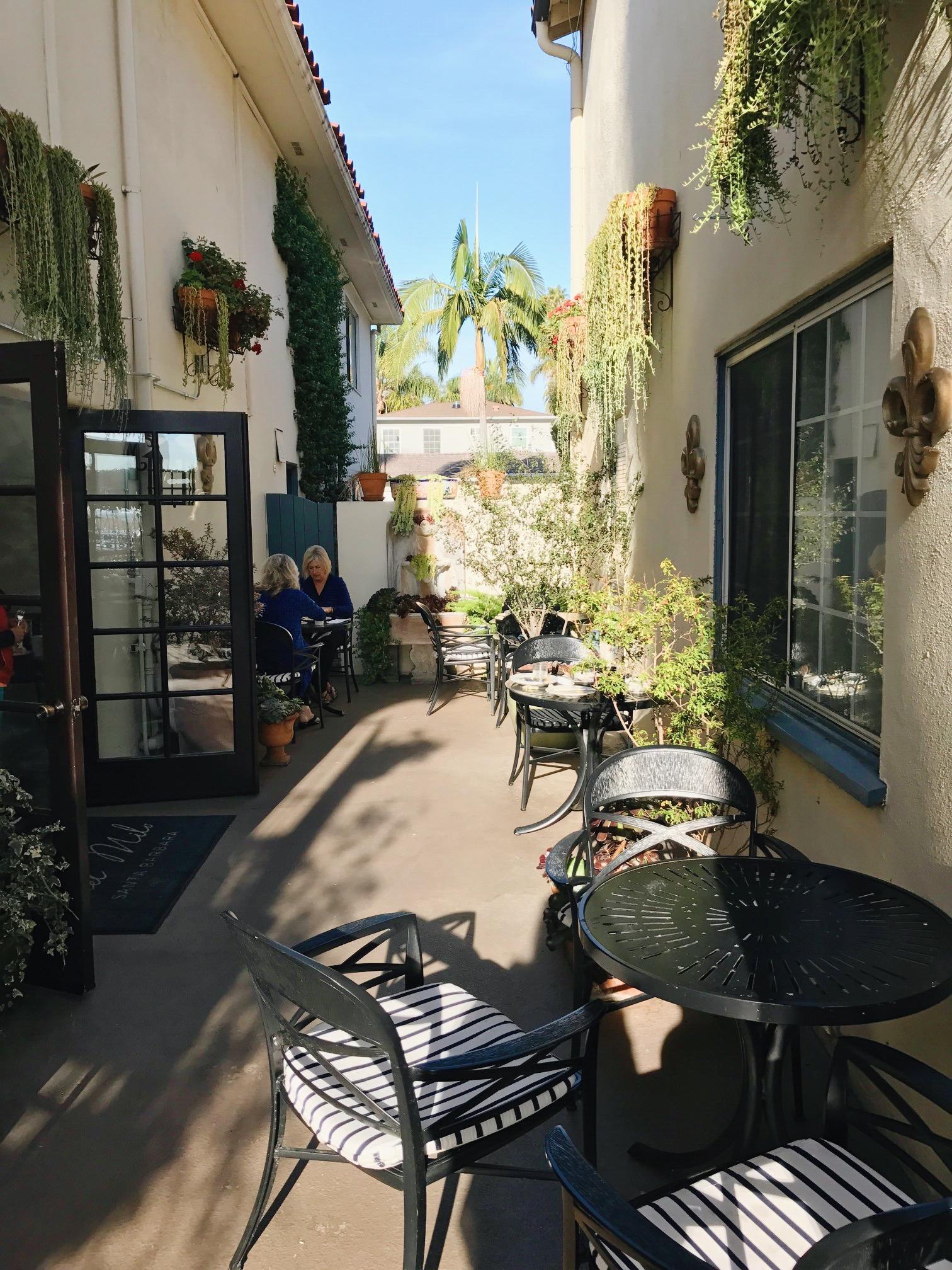 The sunny breakfast patio