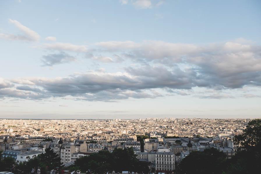Paryžiaus panorama. Montmartras, Šv. Jėzaus širdies bazilika.    View of Paris from Sacré-Coer.