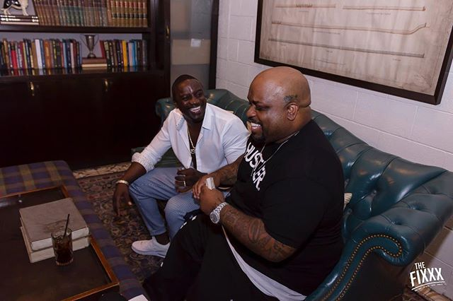 @akon and @ceelogreen enjoy a fun moment at the launch of @akoinofficial. Shout out to our amazing client @thefixradio 🙏🙏🙏