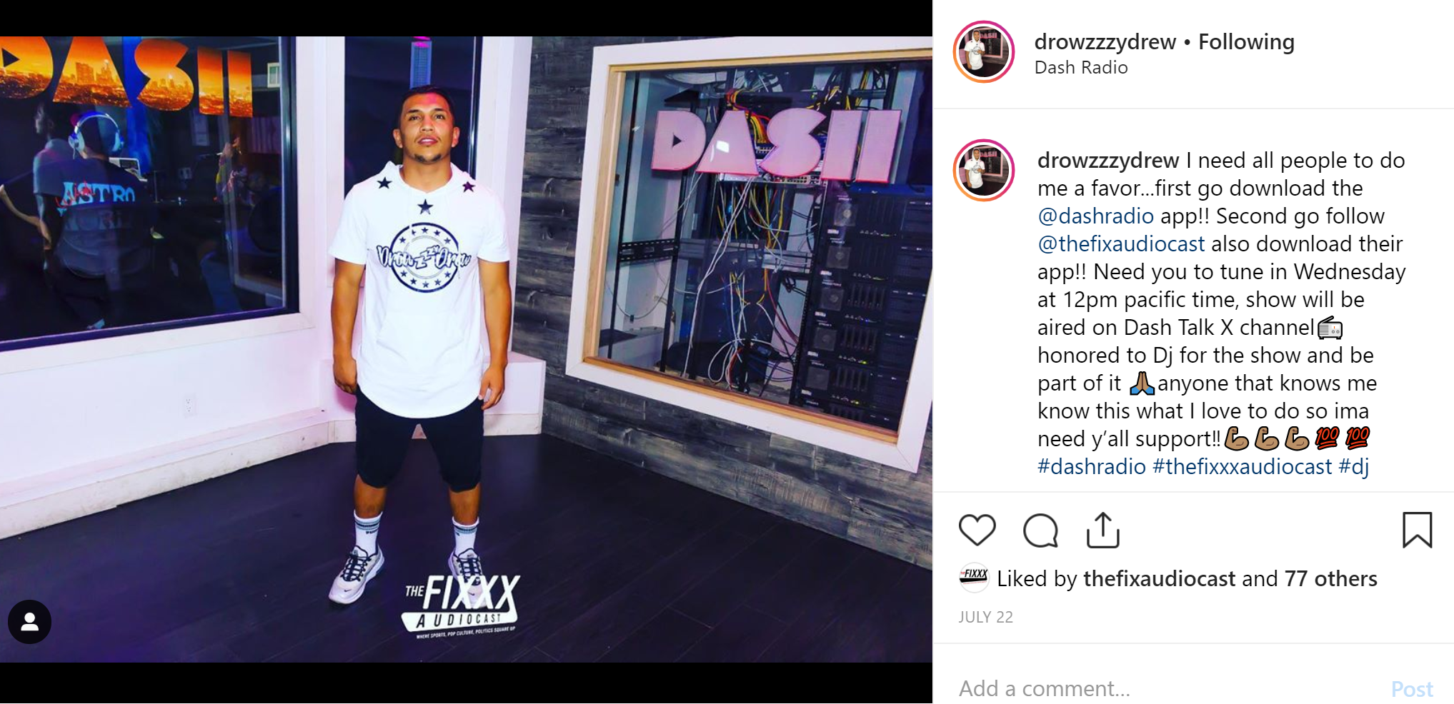 DJ Drowzzzy Drew rocking his signature merchandise at Dash Radio in Hollywood. Picture by Dumisani Maraire Jr. for VlogPics.com and used courtesy of @drowzzzeydrew on instagram.