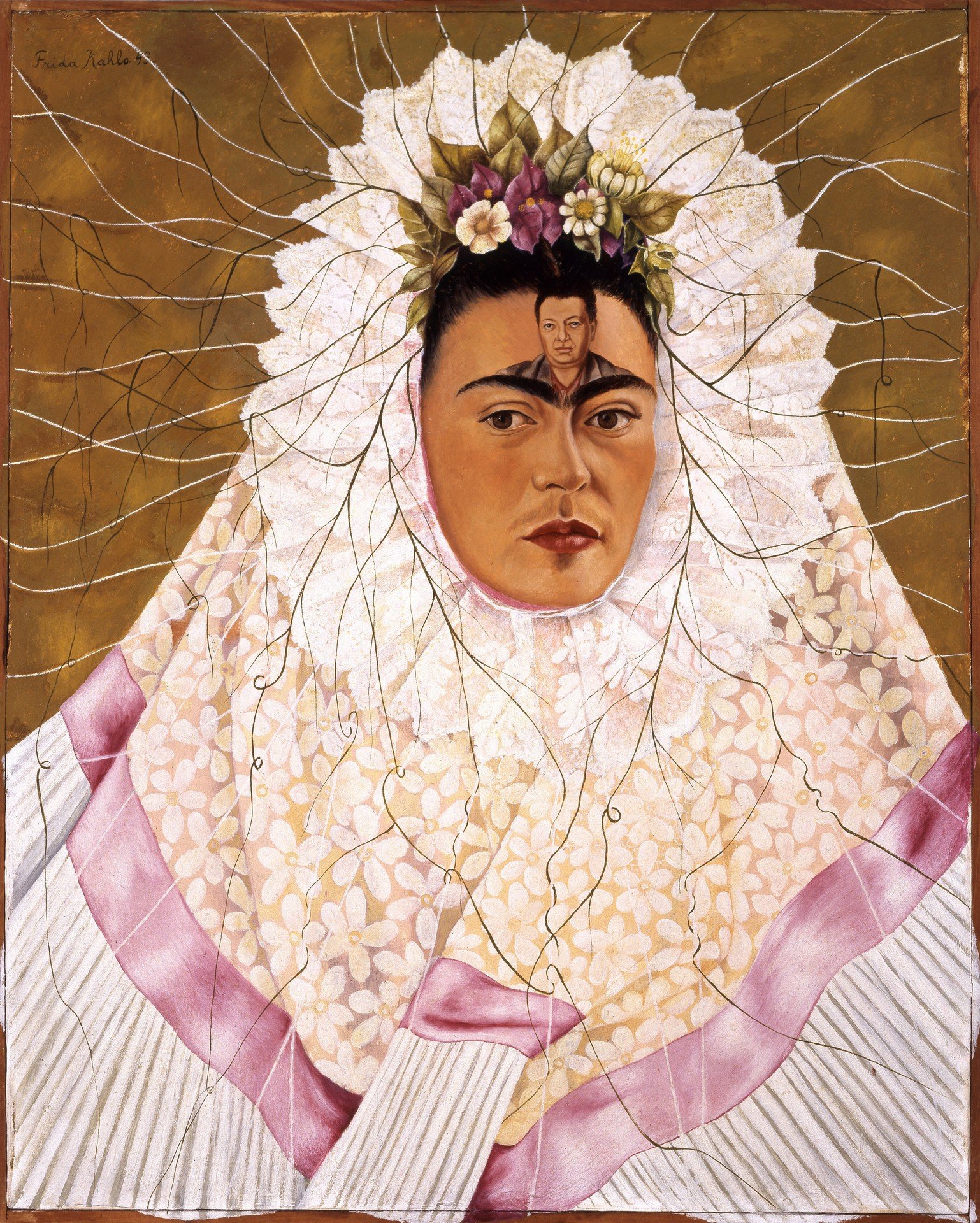 Frida Kahlo, Self-Portrait as Tehuana or Diego in My Thoughts, 1943, The Jacques and Natasha Gelman Collection of 20˚Century Mexican Art and The Vergel Foundation © 2016 Banco de México Diego Rivera Frida Kahlo Museums Trust, Mexico, D.F. / Artists Rights Society (ARS), New York