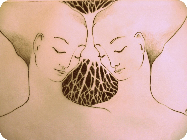 Grafit auf Transparentpapier - Spiegelung -