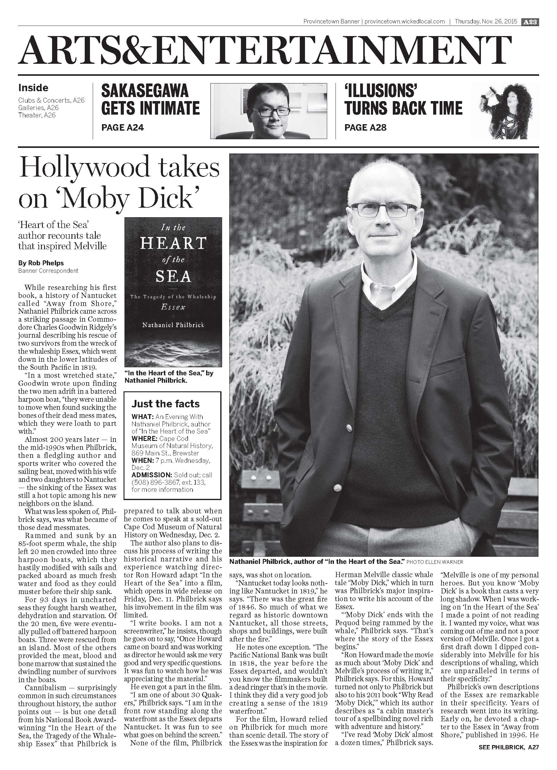 "Author Interview / Book Review  Nathaniel Philbrook, author, ""In the Heart of the Sea,""  Provincetown Banner,  November 26, 2015."
