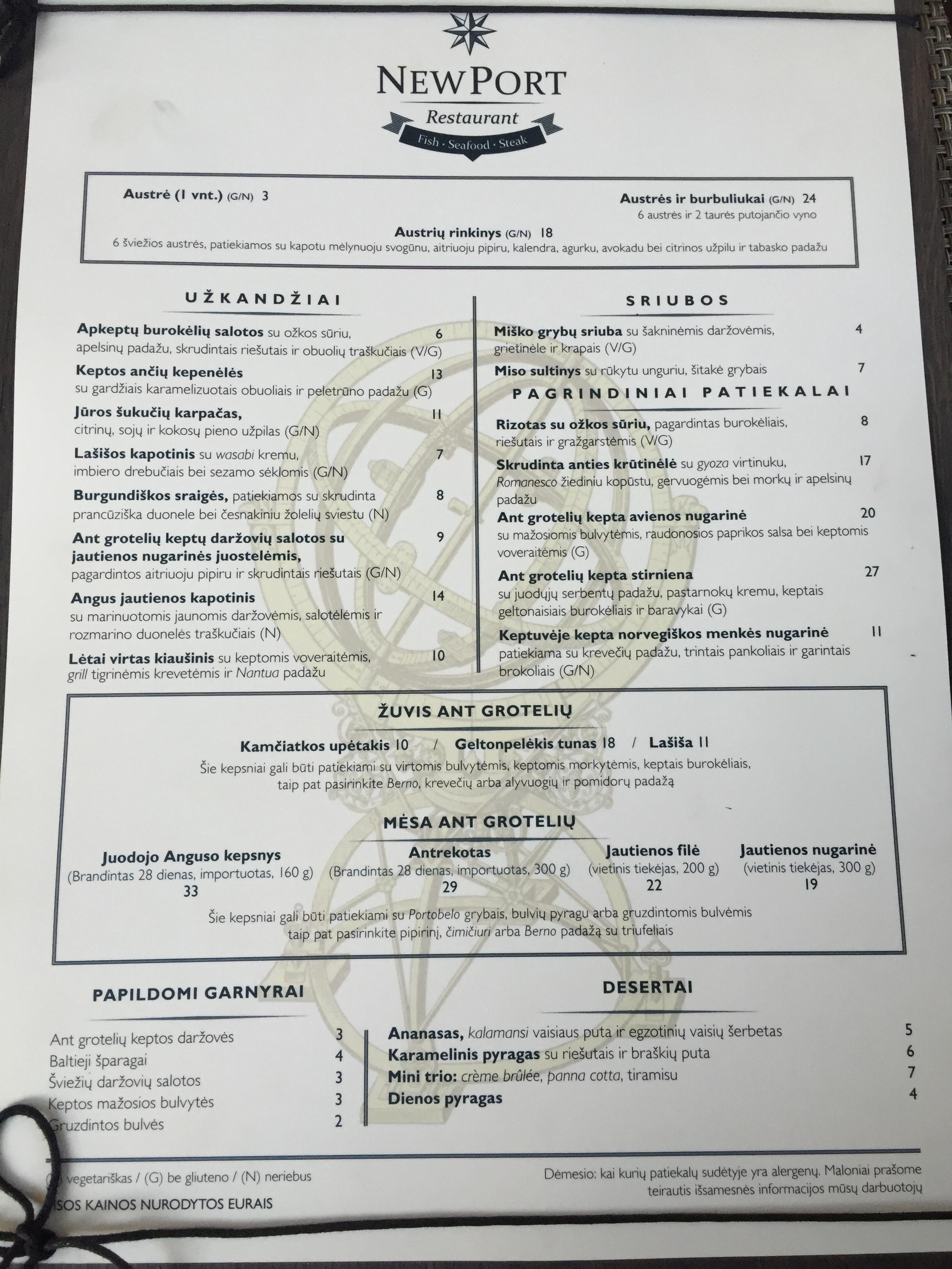 Restorano New Port meniu, kuriame sužymėti patiekalai be gliuteno (ne glitimo! Valio!) :)