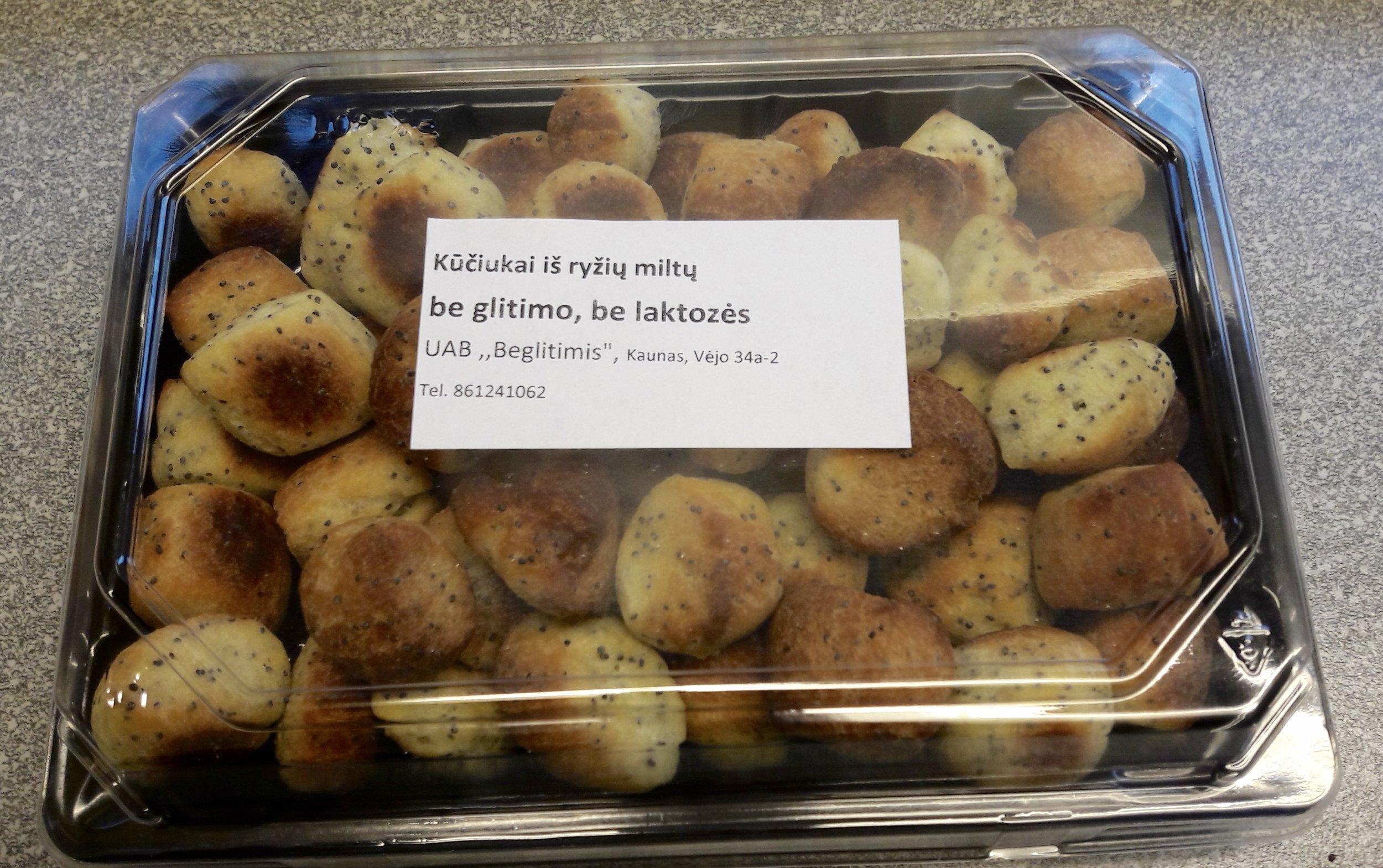 Sudėtis: Ryžių mitai be gliuteno, kokosų aliejus, kiaušiniai, vanduo, bulvių krakmolas, cukrus, aguonos, ksantano derva, sausos mielės, druska.