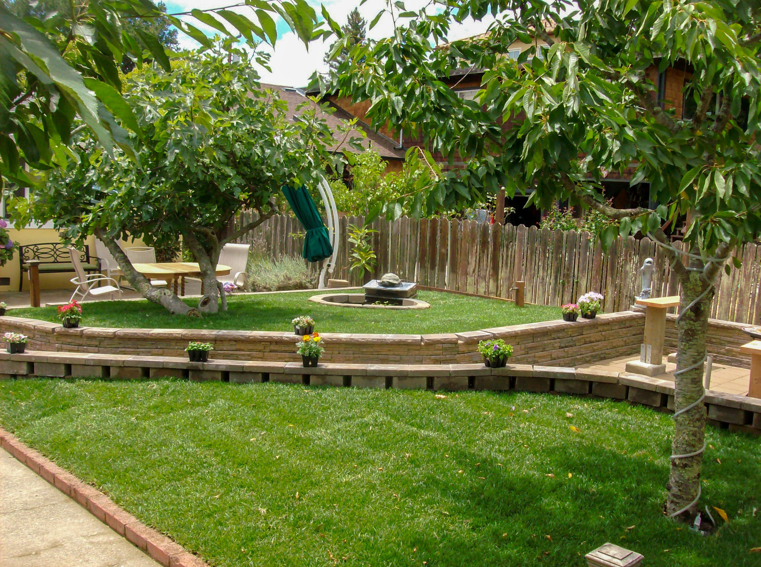 Lawn install and stone wall - Francisco's Gardening & Maintenance www.fgandm.com .jpg
