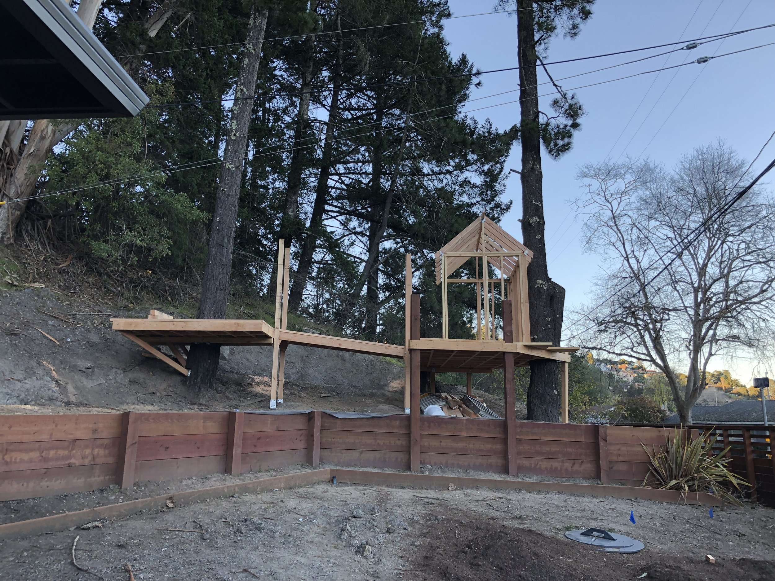 Treehouse in Marin, Mill Valley, Francisco's Gardening and Maintenance - 8 framing and bridge 1.jpeg