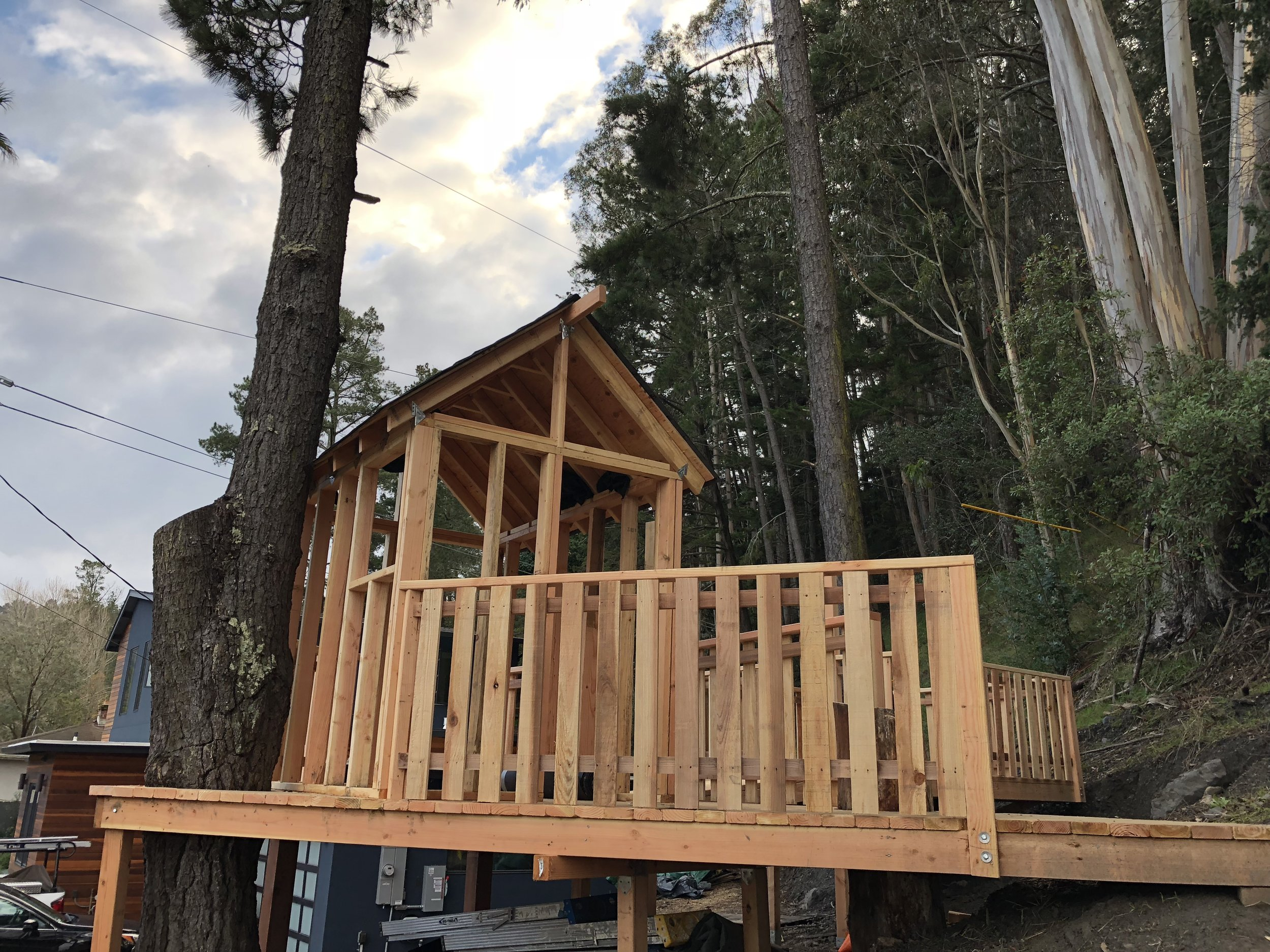 Treehouse in Marin, Mill Valley, Francisco's Gardening and Maintenance - 16 framing and railing 6.jpeg