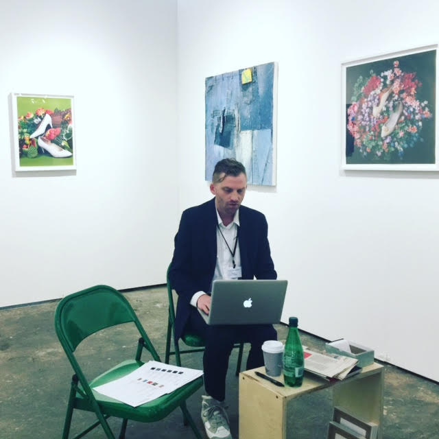 Chris Rawson, (spring 2017 fellow), in his booth, Rawson Projects, at NADA Art Fair, March 2017.