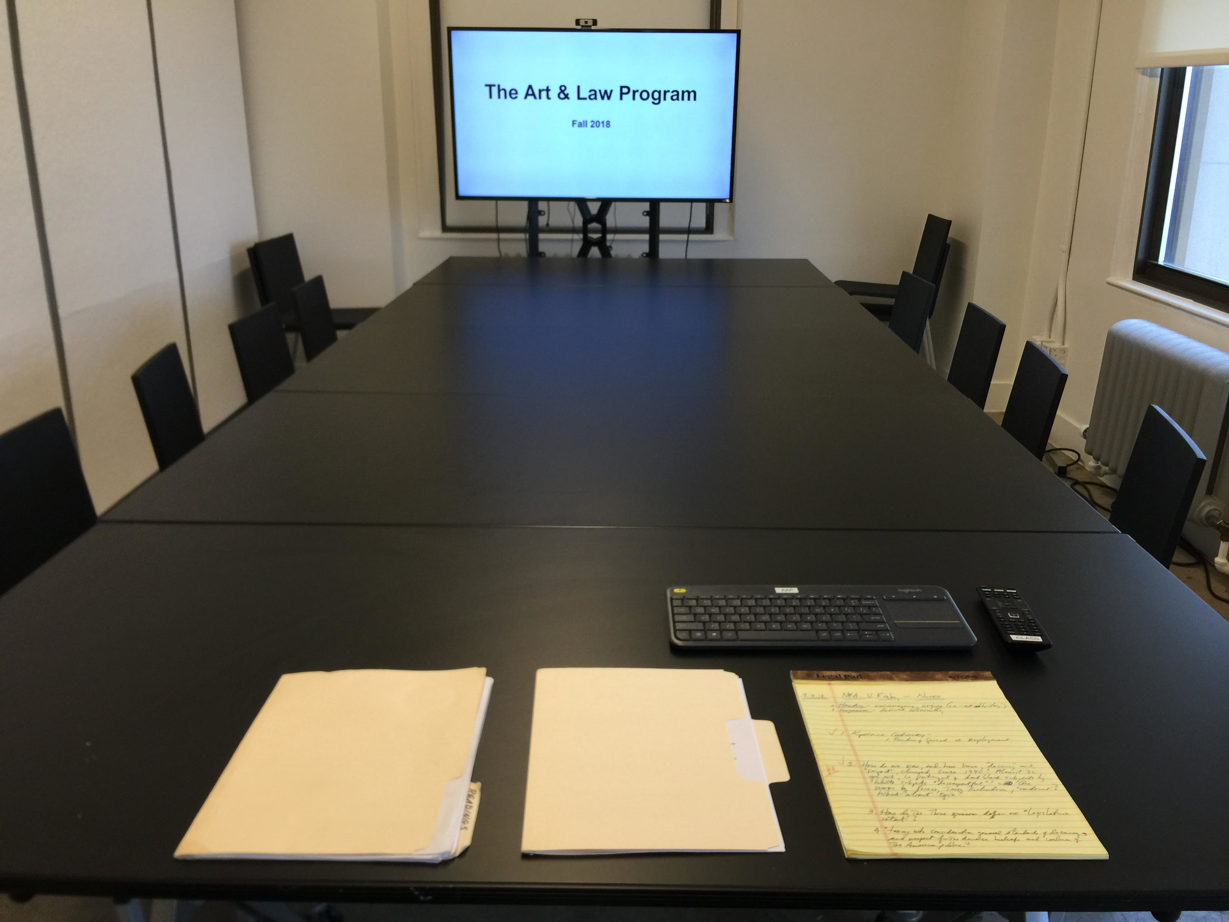 Moments before the fellows arrive for a seminar (Fall 2018).