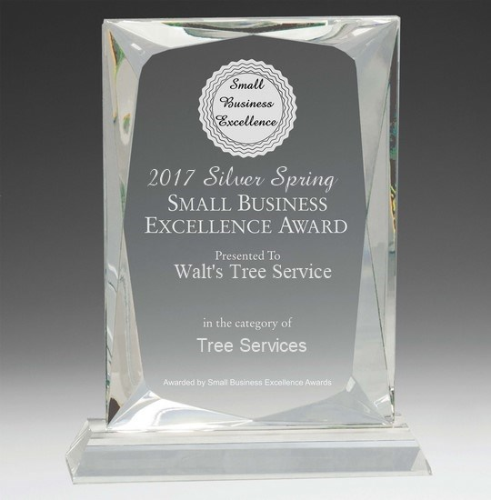 Small Business Excellence Award - 2017 Silver Spring Small Business Excellence Award presented to Walt's Tree Service in the category of Tree Services.