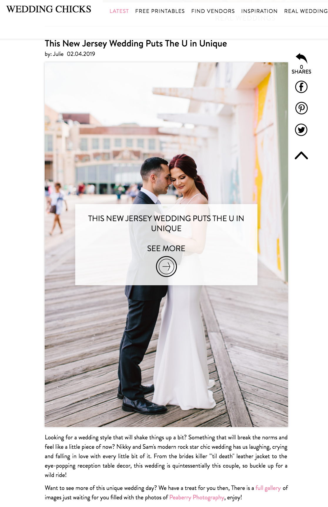 Asbury Park New Jersey  Wedding Chicks Feature | Sam & Nikky Asbury Hotel Wedding