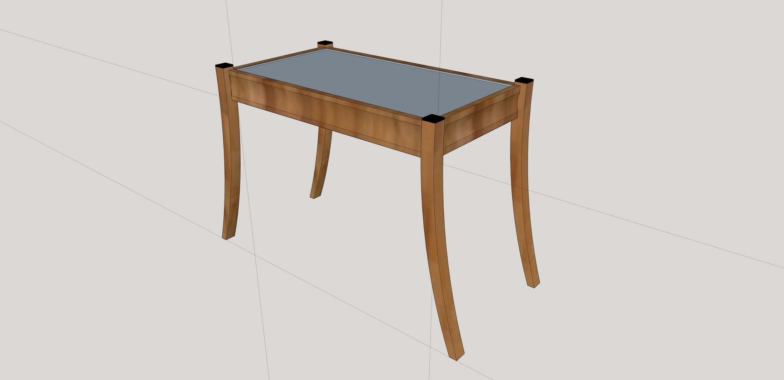 Showcase Table with glass top, scalloped aprons, and arced legs (ebony capos)