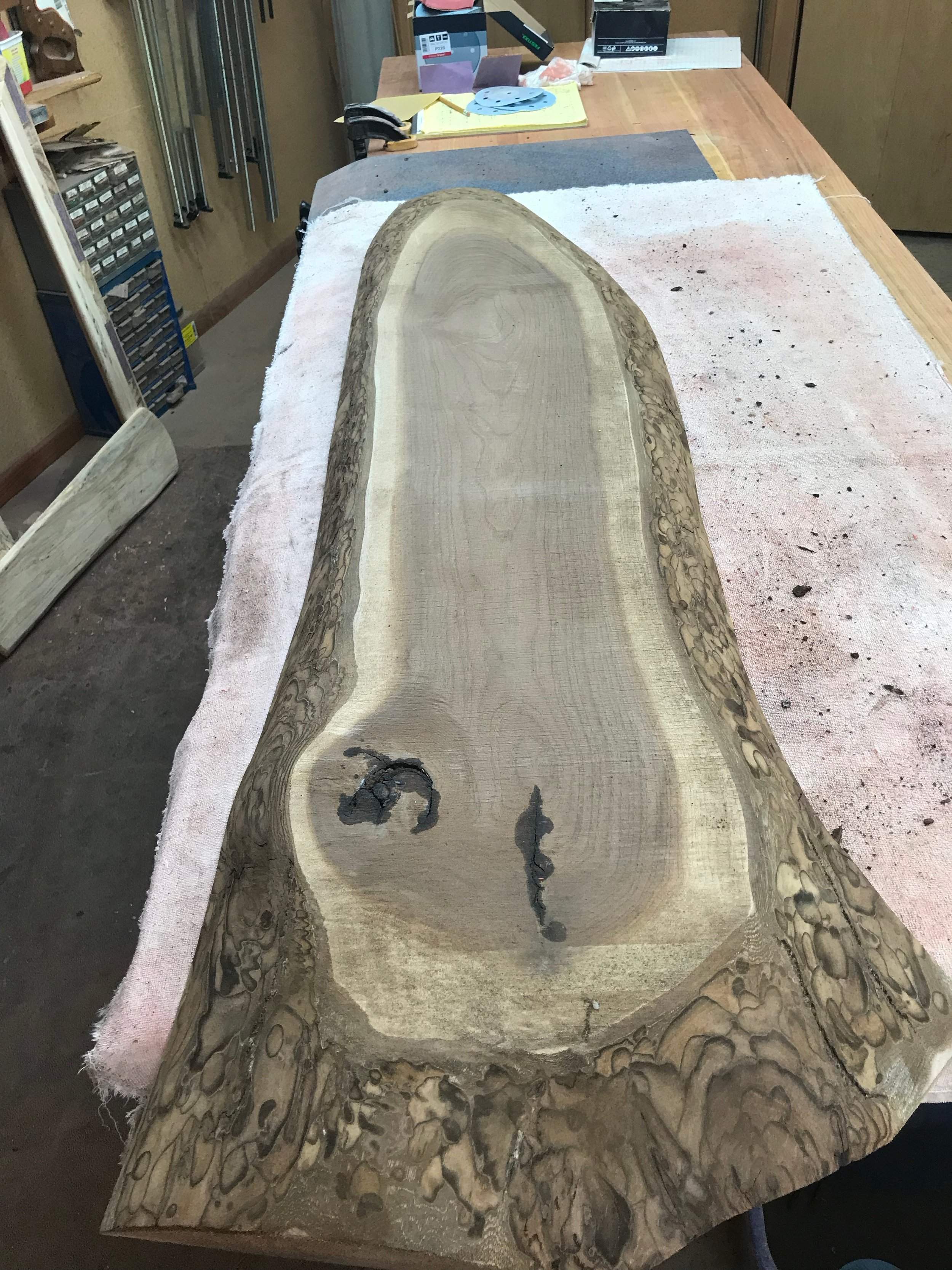 Nearly ready for general sanding of the surface.