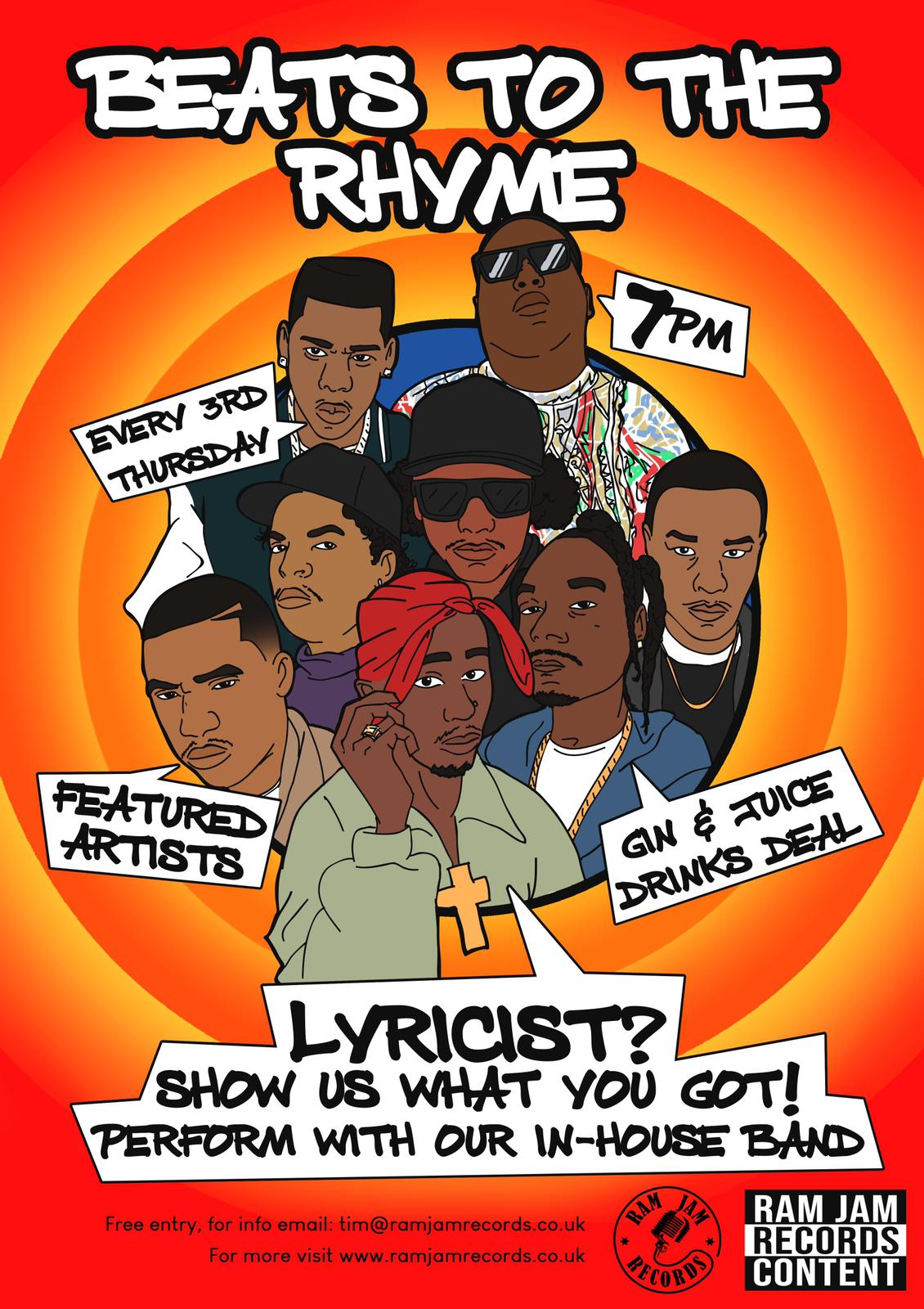 Every 3rd Thursday Ram Jam Records' House Hip-hop band Tune Squad plays, with opportunity for lyricists to freestyle at the end.