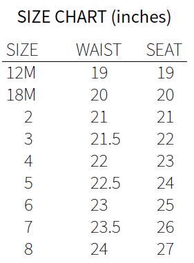Summer Shorties Size Chart