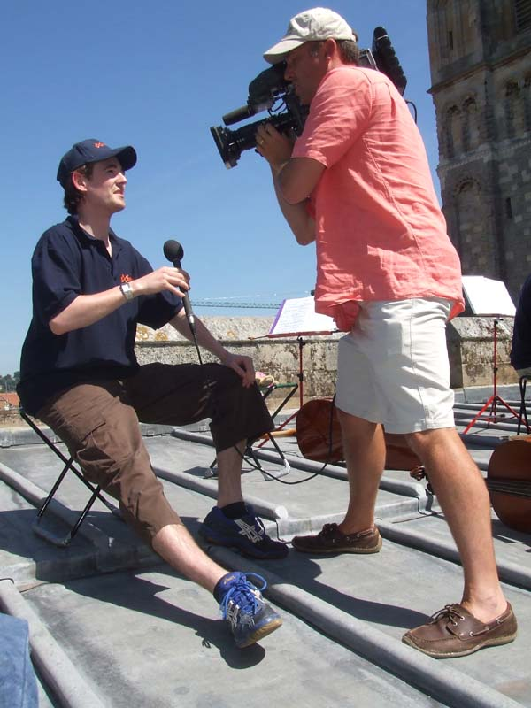 TV interview on top of Exeter Cathedral