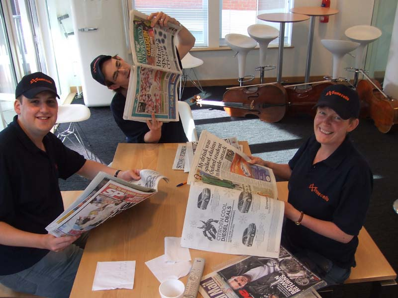 Reviewing the papers at Radio Leicester!