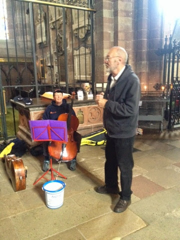 With Rick Kemp of Steeleye Span, in Carlisle Cathedral