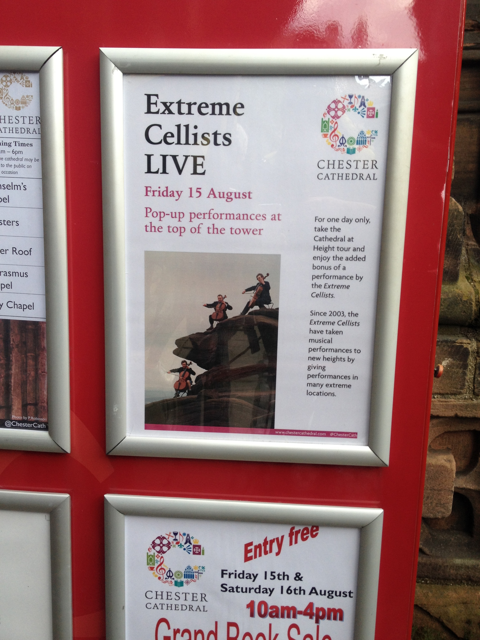 Being advertised at Chester Cathedral...