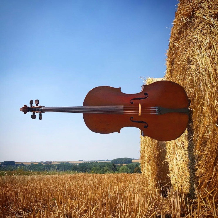 Horizontal cello (in a hay bale!)