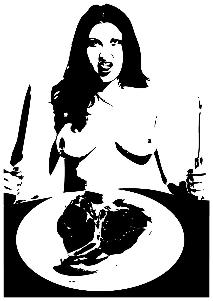Mir hänn dr Fleischesluscht au abgschwöört und ernäären uns vegan,   Vo Kicherärbse-Linse-Gschlabber am ne Schnitzel us Saitan.   Und lääse nur no d BaZ, do sinn mer konsequänt und zwar komplett,   Well dört kei einzigen Artikel Fleisch am Knoche het.