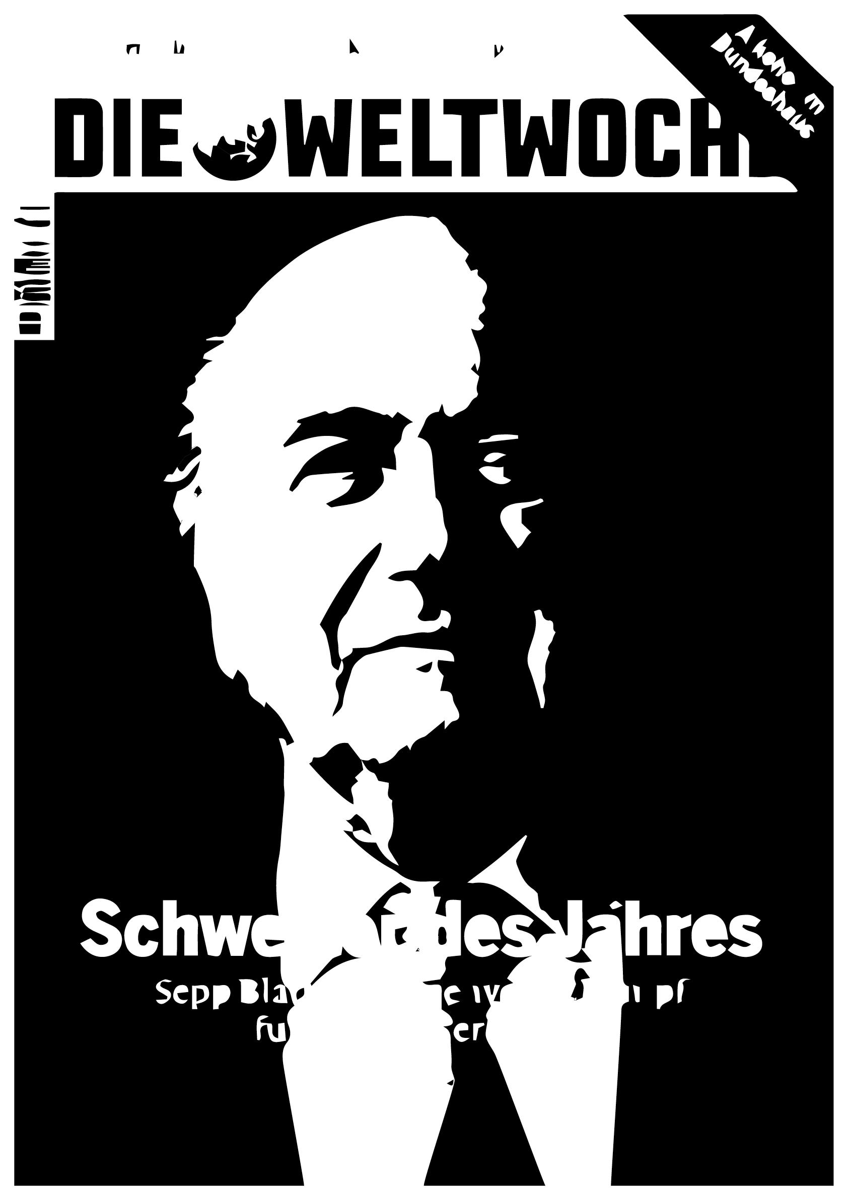 """Dr bahrainisch Ölscheich Salman bin Ebrahim Al Khalifa,  Wird högschdwoorschyynlich bald dr Nochfolger vom Blatter bi dr Fifa.  Au mir glaube är wär für das Amt genau dr richtig Maa,  Well är Ölscheich sicherlich am beschte Schmiire kaa.  -----------  Dr Hermann Göring isch kei Mörder, sondern e verkannts Genie,  Und statt in d Kischte miesst dr Blatter nämmlig """"Mann des Jahres"""" syy. Und dr Köppel isch, wenn me die dritt Enthüllig au no miech, Kei Nationalroot, sondern eifach nur e dumme Siech."""