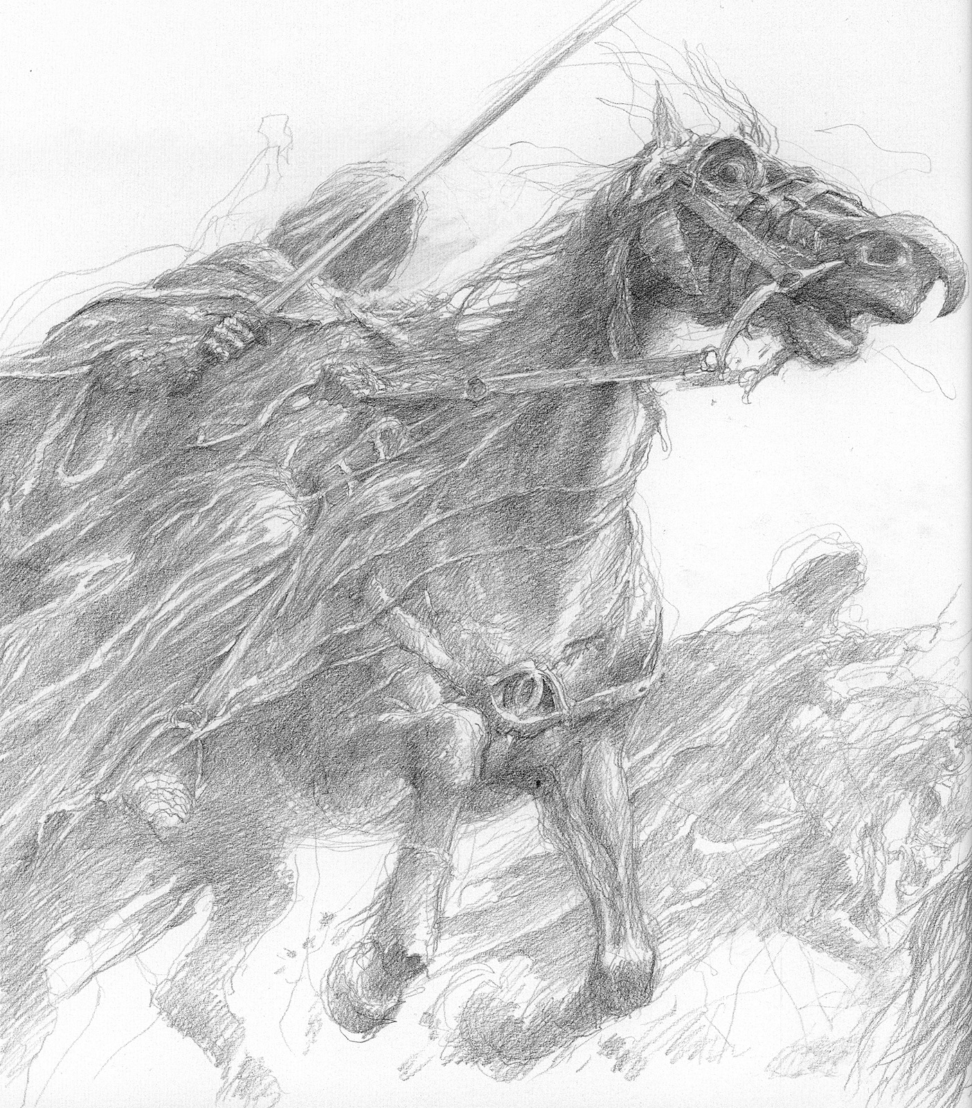 Nazgul by Lee. Look at that beautiful gestural line work in graphite! The Nazgul speak deeply to the reptilian fear of the unkown and threats in the night.