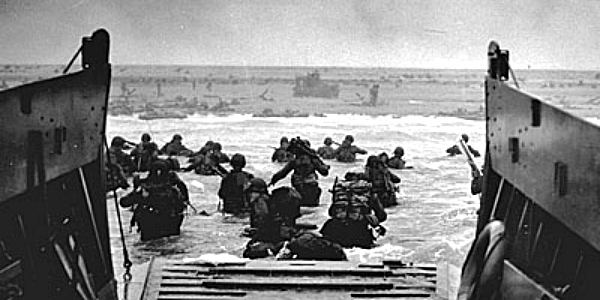 Storming the beach.