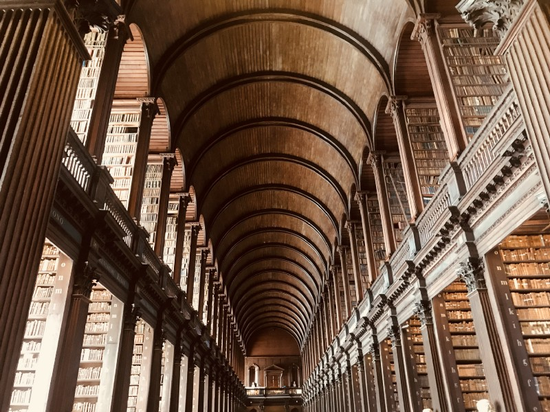 Long room at the Trinity College Library, Dublin, Ireland