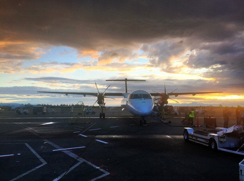 on the road again, SeaTac sunset