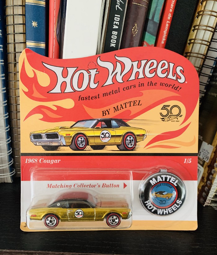 1968 Cougar — 50th Anniversary Edition — Hot Wheels which sits on in a place of pride on my bookshelf
