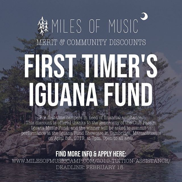 Is this your first time applying to come to 🎶 Miles of Music 🎶 or do you know someone that you want to come for the first time?!? If so, apply for the First Timer's Iguana Fund Discount! Deadline to apply is Feb 18th // LINK to APPLY in BIO! Share with someone you think would love our music camp. This discount is offered through the generosity of the @clubpassim Iguana Fund. . . . . #milesmusiccamp #milesofmusiccamp #clubpassim #iguanafund