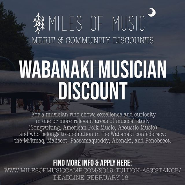 Our little music camp takes place on an idyllic island in the middle of Lake Winnipesaukee, an area rich with Native American history and the word Winnipesaukee itself comes from the Abenaki language. We welcome musicians from the Wabanaki confederacy to apply to come to Miles of Music. Link in Bio! Deadline is February 18th. Share with someone you think would be interested. . . . #milesmusiccamp #milesofmusiccamp #wabanaki #wabanakiconfederacy #penobscot #abenaki #maliseet #passamaquoddy