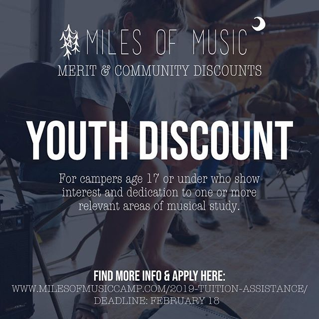 Hey! Are you 17 and under or do you have a young one that is an aspiring musician? Go on and apply for our Youth Discount!! Deadline to apply is Feb 18th. Link in Bio!