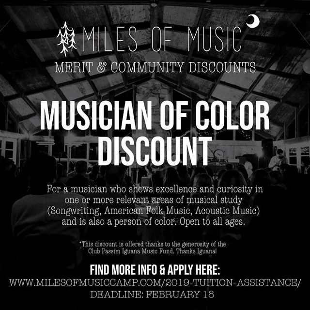 Are you a musician of color with an interest in songwriting, American Folk Music, and/or acoustic music? Apply for the Musician of Color Discount!! Deadline to Apply: Feb 18th. Link in Bio!