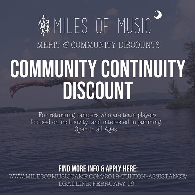 Alrighty! This is for all our returning campers that just love Miles of Music Camp and know how to bring that extra magic to camp. Apply by midnight tomorrow 2/18!! Link in Bio